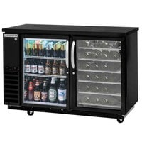 Beverage-Air DZ58G-1-B-PWD-LED 58 inch Dual-Zone Glass Door Black Back Bar Refrigerator with Wine Bottle Drawers - 1 Straight Keg Capacity