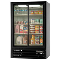 Beverage-Air LV15-1-B-HD 36 inch Black LumaVue Two Hinged Glass Door Refrigerated Merchandiser - 15 cu. ft.