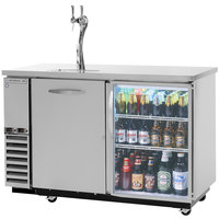 Beverage-Air DZ58G-1-S-1-LED 58 inch Dual-Zone Glass Door Stainless Steel Beer Dispenser with Keg Drawer and 2 Tap Tower - (4) 1/6 Keg and 1 Straight Keg Kegerator