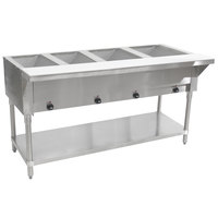 Advance Tabco SW-4E Four Pan Electric Hot Food Table with Undershelf - Sealed Well, 120V