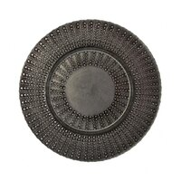 10 Strawberry Street AZT-340(BLK-SLV) 13 inch Aztec Black/Silver Glass Charger Plate