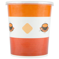 Choice 32 oz. Double-Wall Poly Paper Soup / Hot Food Cup with Plastic Lid - 25 / Pack