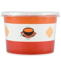 Choice 12 oz. Double-Wall Poly Paper Soup / Hot Food Cup with Plastic Lid - 25 / Pack