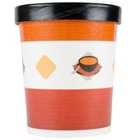 Choice 32 oz. Double-Wall Poly Paper Soup / Hot Food Cup with Vented Paper Lid - 25 / Pack