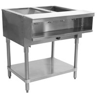 Advance Tabco WB-2G Two Pan Wetbath Gas Powered Hot Food Table with Undershelf - Sealed Well