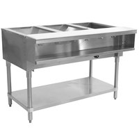 Advance Tabco WB-3G Three Pan Wetbath Gas Powered Hot Food Table with Undershelf - Sealed Well