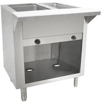 Advance Tabco HF-2G-BS Two Pan Natural Gas Powered Hot Food Table with Enclosed Base - Open Well