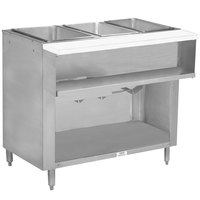 Advance Tabco WB-3G-BS Three Pan Wetbath Gas Powered Hot Food Table with Enclosed Undershelf - Sealed Well