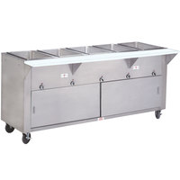 Advance Tabco HF-5E-DR Five Pan Electric Hot Food Table with Enclosed Base and Sliding Doors - Open Well