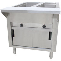 Advance Tabco HF-2E-DR Two Pan Electric Hot Food Table with Enclosed Base and Sliding Doors - Open Well, 120V