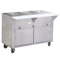 Advance Tabco HF-3E-DR Three Pan Electric Hot Food Table with Enclosed Base and Sliding Doors - Open Well