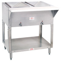 Advance Tabco HF-2E-DR Two Pan Electric Hot Food Table with Enclosed Base and Sliding Doors - Open Well