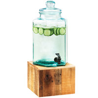Cal-Mil 3422-2 2 Gallon Vintage Glass Beverage Dispenser with Wooden Base