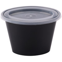 Newspring E506B ELLIPSO 6 oz. Black Oval Plastic Souffle / Portion Cup with Lid 500/Case - 500/Case