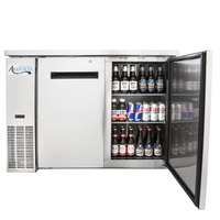 Avantco UBB-24-48S 48 inch Narrow Solid Door Stainless Steel Back Bar Cooler with LED Lighting