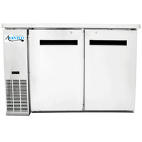 "Avantco UBB-24-48S 48"" Narrow Solid Door Stainless Steel Back Bar Cooler with LED Lighting"