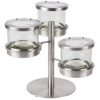 Cal-Mil 1855-5-55NL Mixology Stainless Steel Tiered 3 Jar Display for 32 oz. Jars with Notched Lids - 16 inch x 12 inch x 11 1/4 inch