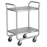 Lakeside 472 Medium-Duty Stainless Steel Two Shelf Tubular Utility Cart with Chrome-Plated Legs / Frame - 27 inch x 17 1/2 inch x 35 3/4 inch