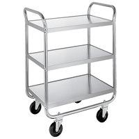 Lakeside 489 Medium-Duty Stainless Steel Three Shelf Tubular Utility Cart with Chrome-Plated Legs / Frame - 27 inch x 20 inch x 35 inch
