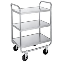 Lakeside 473 Medium-Duty Stainless Steel Three Shelf Tubular Utility Cart with Chrome-Plated Legs / Frame - 27 inch x 17 1/2 inch x 35 3/4 inch