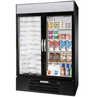 Beverage Air Market Max MMRF49-1-BW-LED Black 2 Section Glass Door Dual Temperature Merchandiser - 49 Cu. Ft.