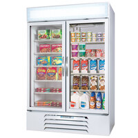 Beverage Air Market Max MMRF49-1-WW White 2 Section Glass Door Dual Temperature Merchandiser - 49 Cu. Ft.