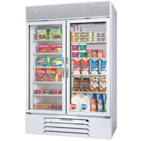 Beverage Air Market Max MMRF49-1-WW-LED White 2 Section Glass Door Dual Temperature Merchandiser - 49 Cu. Ft.