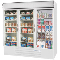 Beverage Air Market Max MMRF72-1-WW White 3 Section Glass Door Dual Temperature Merchandiser - 72 Cu. Ft.