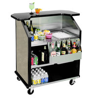 Lakeside 884 43 inch Stainless Steel Portable Bar with Beige Suede Laminate Finish, Removable 7-Bottle Speed Rail, and 40 lb. Ice Bin