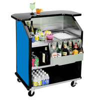Lakeside 884 43 inch Stainless Steel Portable Bar with Royal Blue Laminate Finish, Removable 7-Bottle Speed Rail, and 40 lb. Ice Bin