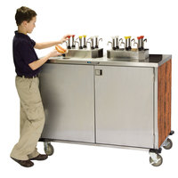 Lakeside 70200 Stainless Steel EZ Serve 8 Pump Condiment Cart with Victorian Cherry Finish - 27 1/2 inch x 50 1/4 inch x 47 inch