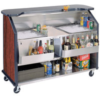 Lakeside 886 63 1/2 inch Stainless Steel Portable Bar with Red Maple Laminate Finish, 2 Removable 7-Bottle Speed Rails, and 2 40 lb. Ice Bins