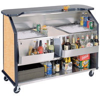 Lakeside 886 63 1/2 inch Stainless Steel Portable Bar with Hard Rock Maple Laminate Finish, 2 Removable 7-Bottle Speed Rails, and 2 40 lb. Ice Bins