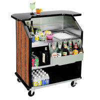 Lakeside 884 43 inch Stainless Steel Portable Bar with Victorian Cherry Laminate Finish, Removable 7-Bottle Speed Rail, and 40 lb. Ice Bin