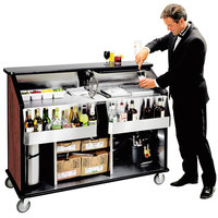 Lakeside 889 63 1/2 inch Stainless Steel Portable Bar with Red Maple Laminate Finish, 2 Removable 7-Bottle Speed Rails, and 70 lb. Ice Bin