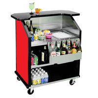 Lakeside 884 43 inch Stainless Steel Portable Bar with Red Laminate Finish, Removable 7-Bottle Speed Rail, and 40 lb. Ice Bin