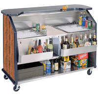 Lakeside 886 63 1/2 inch Stainless Steel Portable Bar with Victorian Cherry Laminate Finish, 2 Removable 7-Bottle Speed Rails, and 2 40 lb. Ice Bins