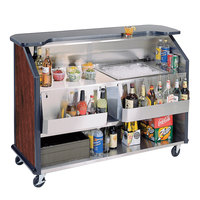 Lakeside 887 63 1/2 inch Stainless Steel Portable Bar with Red Maple Laminate Finish, 2 Removable 7-Bottle Speed Rails, and 40 lb. Ice Bin