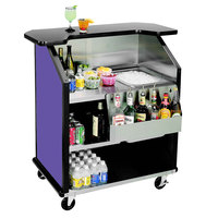 Lakeside 884 43 inch Stainless Steel Portable Bar with Purple Laminate Finish, Removable 7-Bottle Speed Rail, and 40 lb. Ice Bin