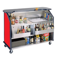 Lakeside 887 63 1/2 inch Stainless Steel Portable Bar with Red Laminate Finish, 2 Removable 7-Bottle Speed Rails, and 40 lb. Ice Bin