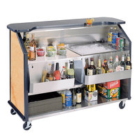 Lakeside 887 63 1/2 inch Stainless Steel Portable Bar with Hard Rock Maple Laminate Finish, 2 Removable 7-Bottle Speed Rails, and 40 lb. Ice Bin