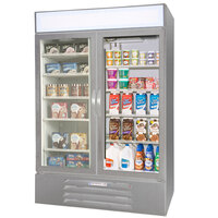 Beverage Air Market Max MMRF49-1-SW Stainless Steel Two Section Glass Door Dual Temperature Merchandiser - 49 Cu. Ft.