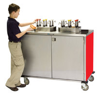 Lakeside 70220 Stainless Steel EZ Serve 4 Pump Condiment Cart with Red Finish - 27 1/2 inch x 33 inch x 47 inch