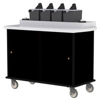 Lakeside 70410 Black Condi-Express 4 Pump Condiment Cart with (2) Cup Dispensers