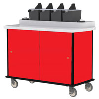 Lakeside 70510 Red Condi-Express 4 Pump Condiment Cart with (2) Cup Dispensers