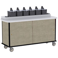 Lakeside 70530 Beige Suede Condi-Express 6 Pump Condiment Cart with (2) Cup Dispensers