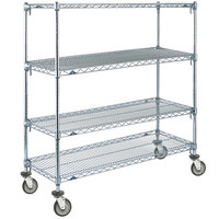 Metro A566EC Super Adjustable Chrome 4 Tier Mobile Shelving Unit with Polyurethane Casters - 24 inch x 60 inch x 69 inch