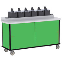 Lakeside 70430 Green Condi-Express 6 Pump Condiment Cart with (2) Cup Dispensers