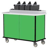 Lakeside 70510 Green Condi-Express 4 Pump Condiment Cart with (2) Cup Dispensers