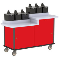 Lakeside 70550 Red Condi-Express 6 Pump Dual Height Condiment Cart